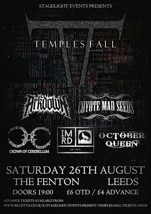 Stagelight Events Presents: Temple Fall Live at The Fenton Leeds 00, Aug 26